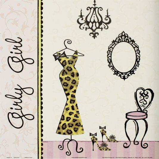 Gravura para Quadros Closet Girly Girl 30x30cm