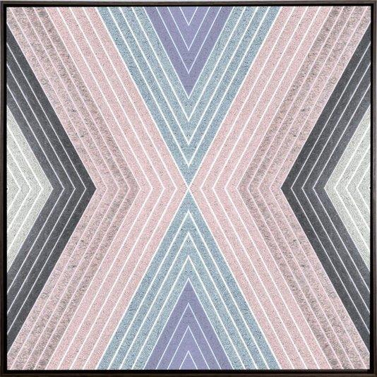 Quadro Decorativo Tela Canvas Abstrata Geométrica com Moldura Marrom II 60x60cm