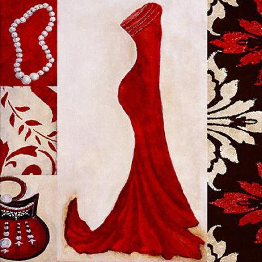 Gravura Importada para Quadros Closet Vestido Vermelho 30x30cm