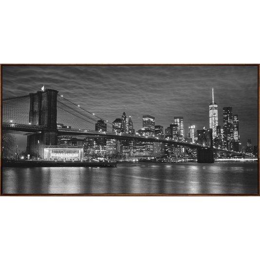 Quadro Tela Decorativa Ponte do Brooklyn com Moldura na Cor Mel 140x70cm