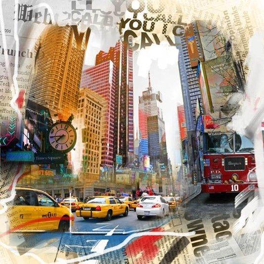 Quadro Tela Decorativa Centro de Nova York Multicolorido 60x60cm