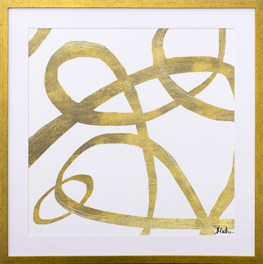 Quadro Decorativo Abstrato Linhas Douradas II - 75x75cm