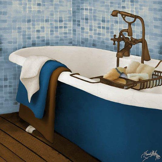 Gravura para Quadros Lavabo Banheira Azul II - 30x30cm