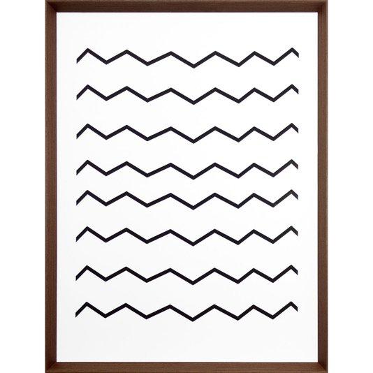 Quadro Abstrato com Moldura Marrom Listras em Preto e Branco 60x80cm