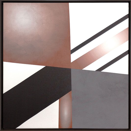 Quadro Decorativo Tela Canvas Abstrata Colorida com Moldura Marrom II 60x60cm