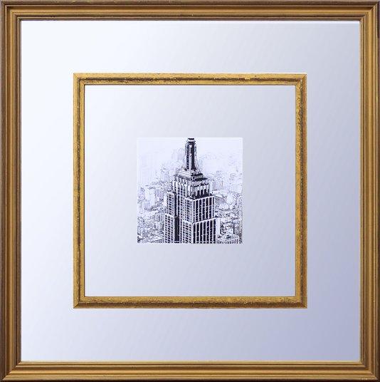 Quadro Decorativo com Espelho Cidade Nova York Empire State Building 55x55cm