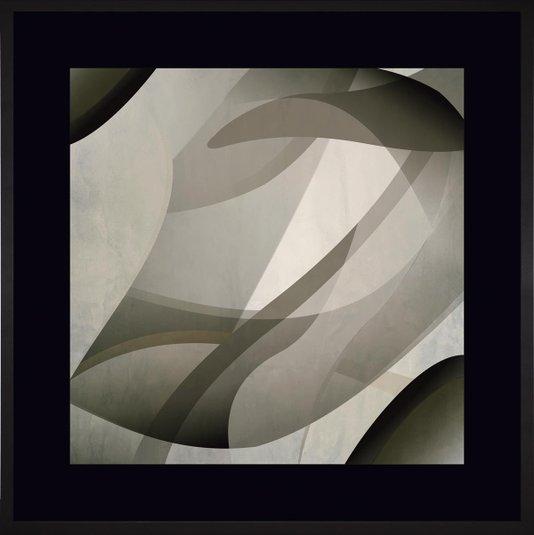 Quadro Decorativo Abstrato com Moldura e Margem Preta I 90x90cm