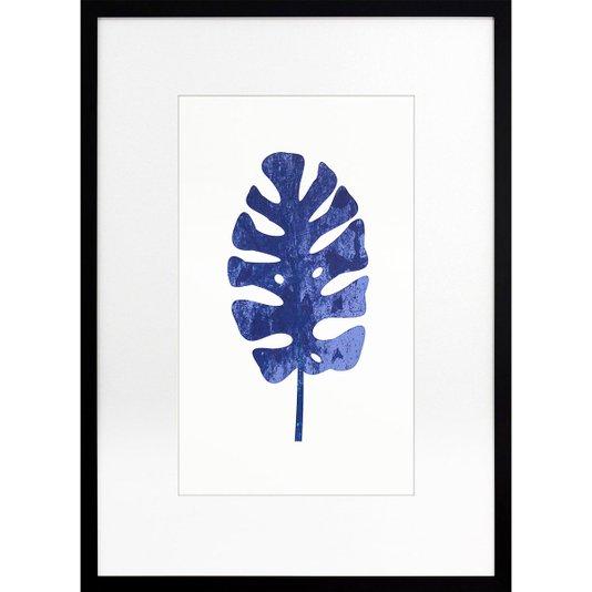 Quadro Decorativo Moderno Minimalista com Moldura Preta Folha Azul II 50x70cm