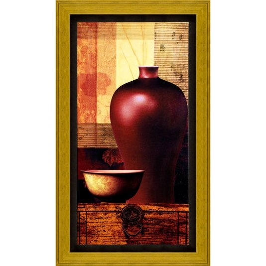 Quadro com Moldura Dourada e Impressão Digital em Tela Vaso e Tigela 40x70cm