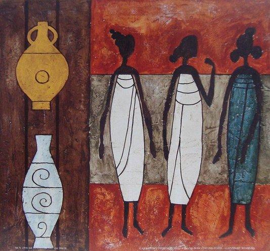 Gravura Africana para Quadros Mulheres e Vasos Africanos 30x30cm