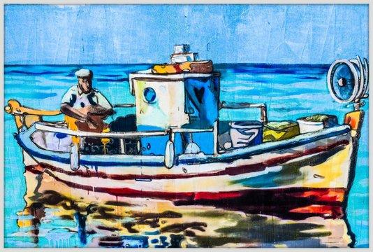 Quadro Decorativo Grande com Moldura Branca Barco de Pesca Colorido 150x100cm
