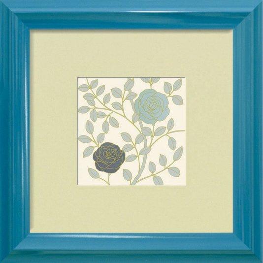 Quadro Decorativo Floral Azul Vintage 40x40cm