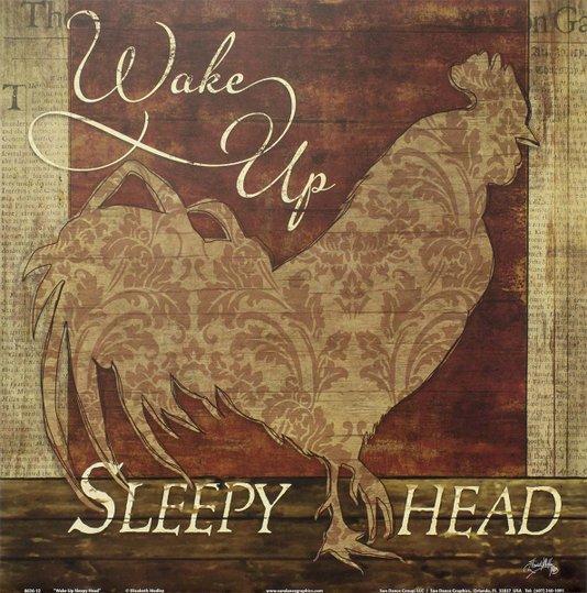Gravura para Quadros Cozinha Wake Up Sleep Head 30x30cm