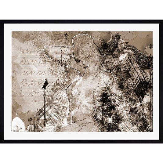 Quadro Abstrato Decorativo com Moldura Preta Mulher 90x70cm