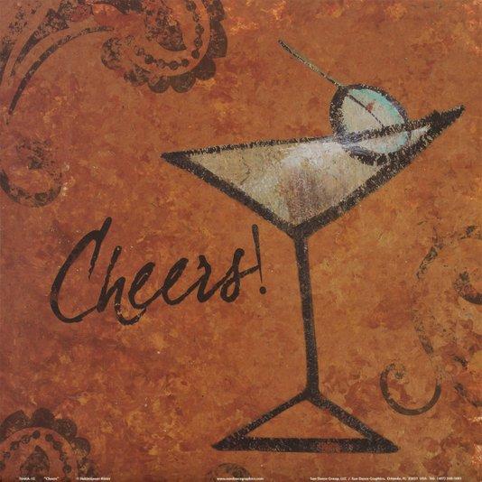Gravura para Quadros Bebida Dry Martini Brinde 30x30cm