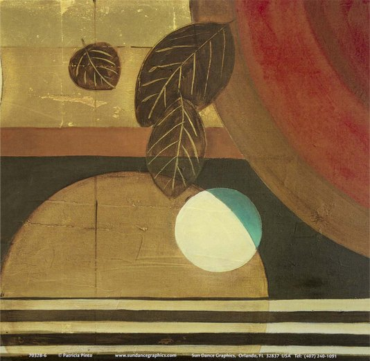Gravura para Quadros Abstrato Bolas e Folhas 15x15cm