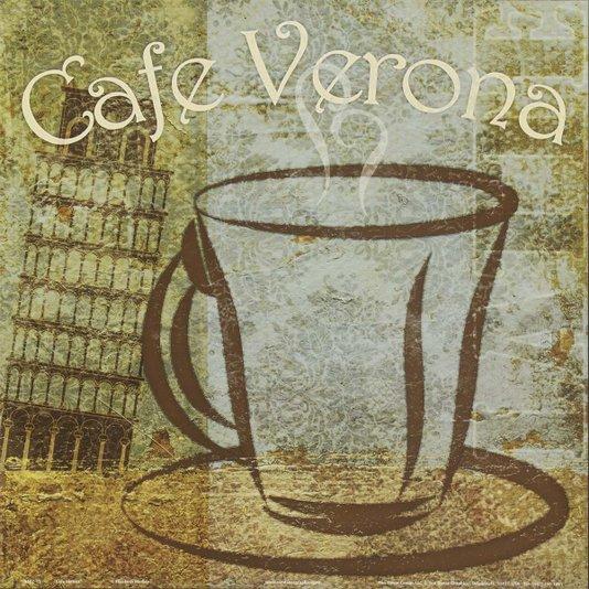 Gravura para Quadros Café Verona Itália 30x30cm