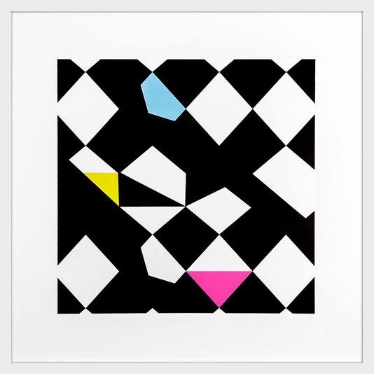 Quadro Decorativo com Moldura Branca Geométrico em Preto e Branco 70x70cm