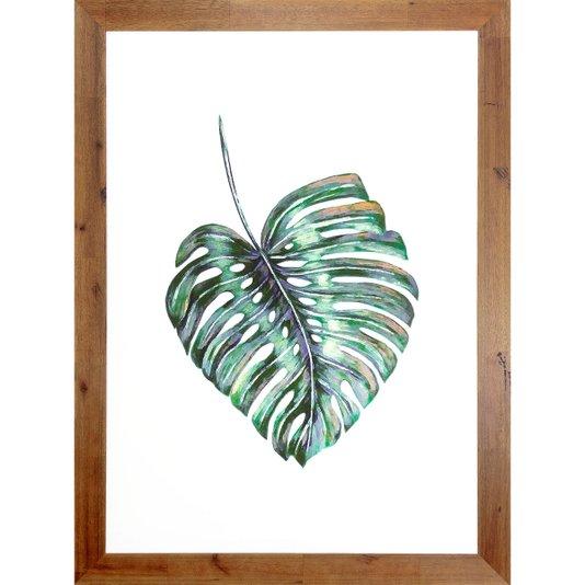 Quadro Decorativo Folha Verde Minimalista com Moldura Rústica 80x110cm