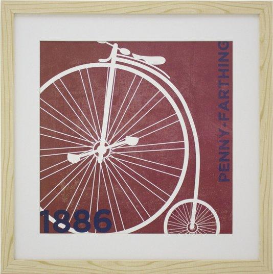 Quadro Decorativo Bicicleta Antiga de 1886 Penny Farthing- 40x40cm