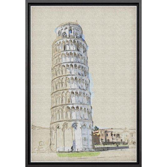 Quadro Pequeno Tela Canvas com Moldura Torre de Pisa na Itália 20x30cm