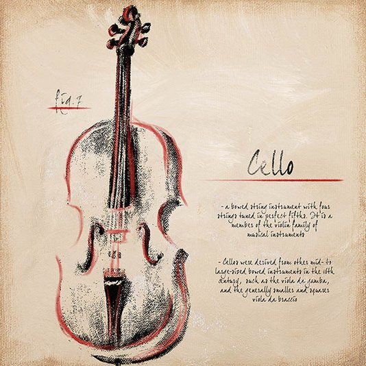 Gravura para Quadros Violino Cello 30x30cm