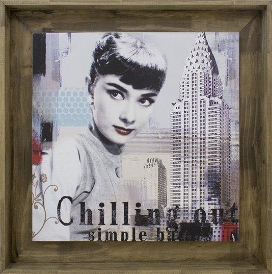 Quadro Tela Decorativa Emoldurada Audrey Hepburn Nova York II - 80x80cm