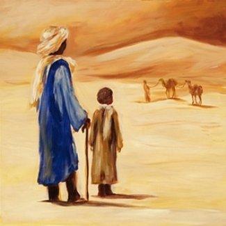 Gravura Africana para Quadros Mulher com Roupa Azul no Deserto 30x30cm