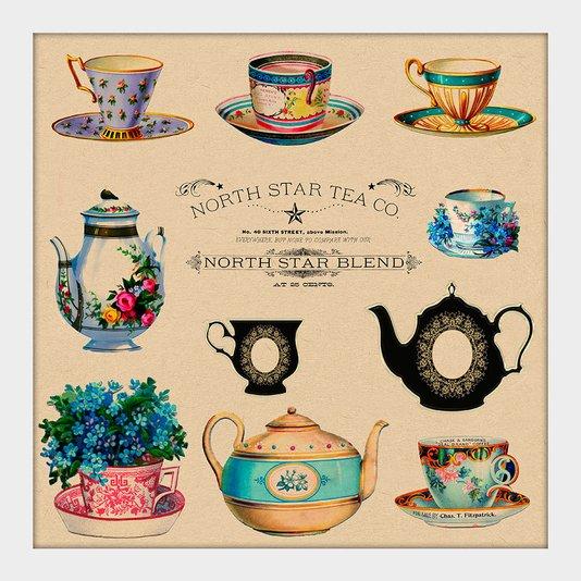 Quadro Pequeno Decorativo Ilustração Xícaras de Chá Vintage Moldura Branca