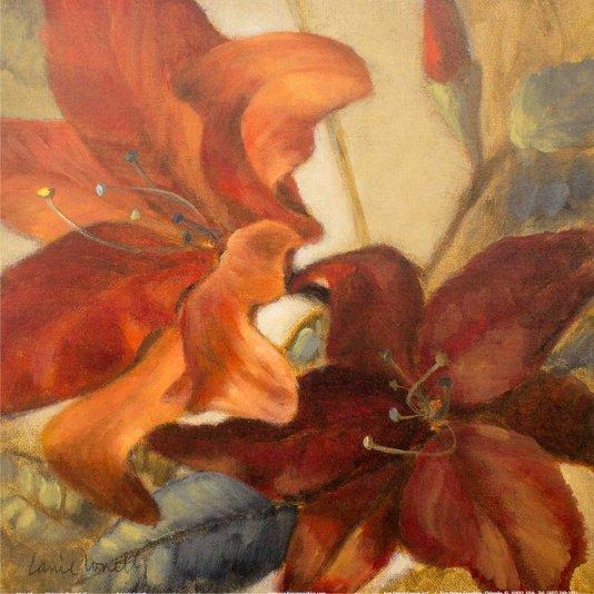 Gravura para Quadros Flores Vermelhas por Lanie Loreth 30x30cm