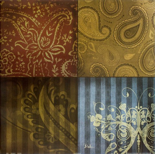 Gravuras para Quadros Abstrato Combo de Paisley 61x61cm