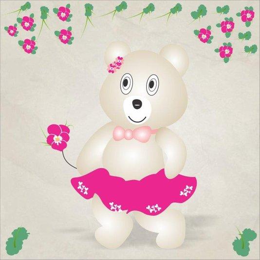 Gravura Imagem para Quadros Ursa com Flor 45x45cm