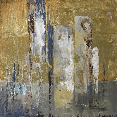 Gravura Abstrata para Quadros Ferrugem Dourada Ii de Patricia Pinto 60x60cm