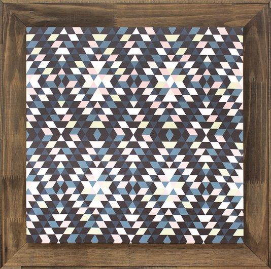 Quadro Grande Tela Decorativa Abstrata com Moldura Rústica 80x80cm