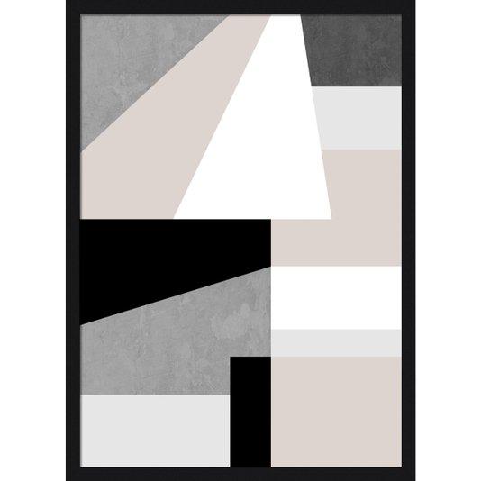 Quadro Geométrico com Moldura Preta Decorativo Arte Colorida II 50x70cm