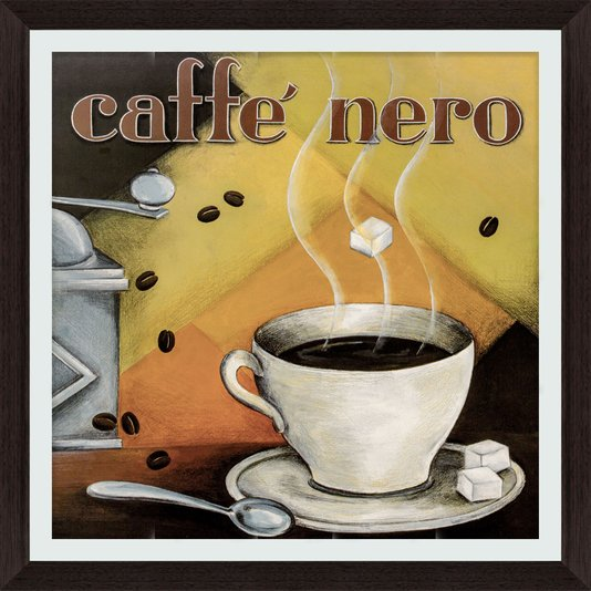 Quadro Decorativo Caffé Nero Moldura Marrom Escuro 45x45cm