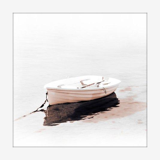 Quadro Decorativo Imagem Minimalista Moldura Branca Ilustração Barco 20x20cm