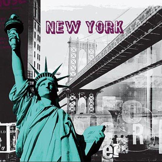 Quadro Tela Impressa New York Estátua da Liberdade 60x60cm