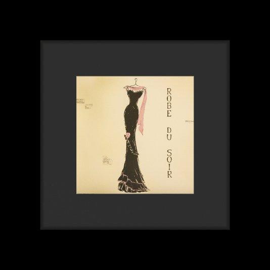 Quadro Decorativo com Moldura Preta Vestido Preto para Noite 65x65cm