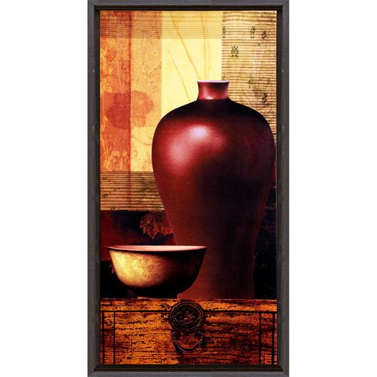 Quadro Decorativo Vaso Vermelho Impressão Digital em Tela 30x60cm