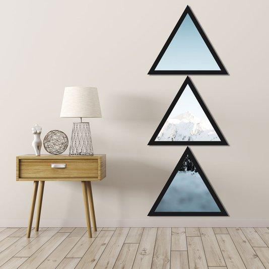 Conjunto 3 Quadros Formato Triângulos Montanha 43x115cm