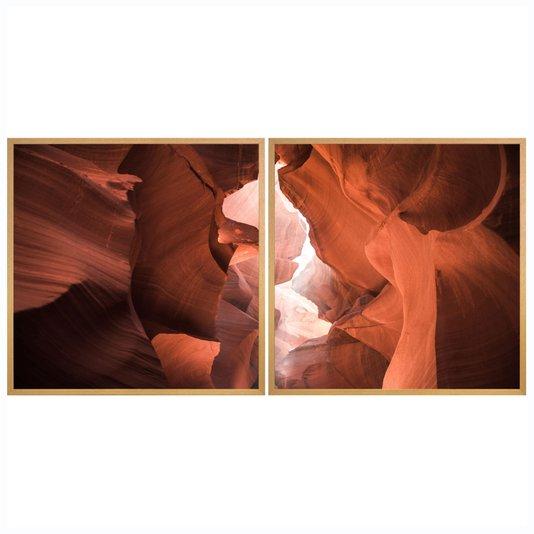 Par de Quadros Antelope Canyon 2 Quadros de 80x80 cm