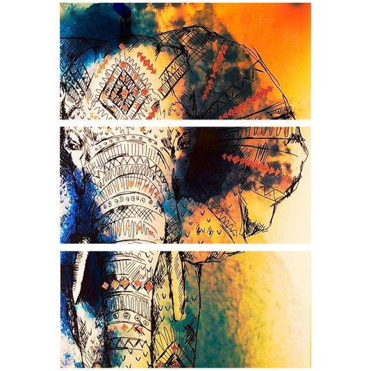 Conjunto de 3 Quadros Telas Decorativas Desenho Elefante