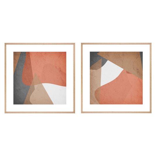 Conjunto de Quadros Abstratos com Moldura Laminada Cor Carvalho