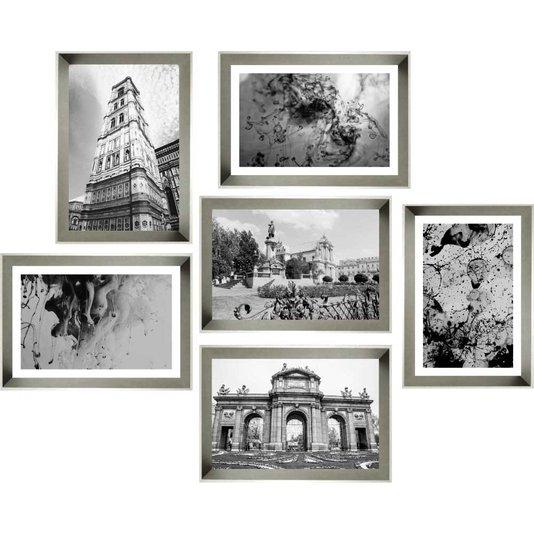 Conjunto de Quadros Abstratos e Paisagens Urbanas Kit com 6 Quadros