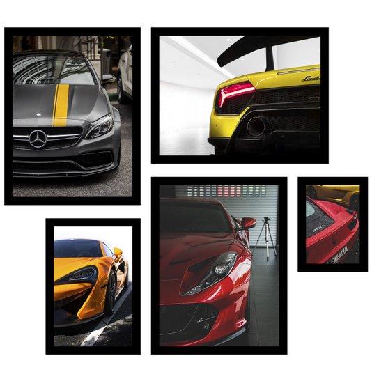 Conjunto de Quadros Carros Esportivos Kit com 5 Quadros