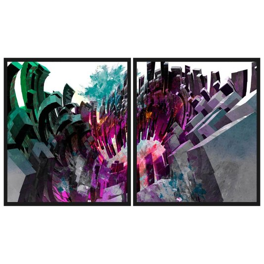 Conjunto de Quadros Abstratos Kit com 2 Quadros 190x110cm