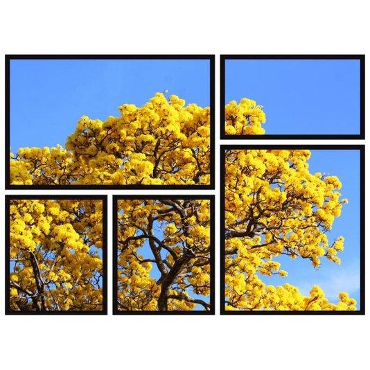 Conjunto Quadros Decor Árvore Ipê Amarelo Kit com 5 Quadros
