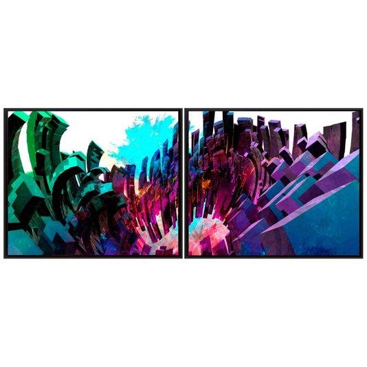 Conjunto de Quadros Kit com 2 Quadros Abstratos 190x80cm