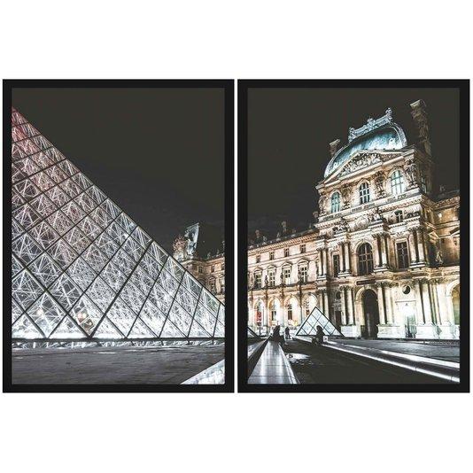 Conjunto de Quadros Kit com 2 Quadros Museu do Louvre 120x80cm